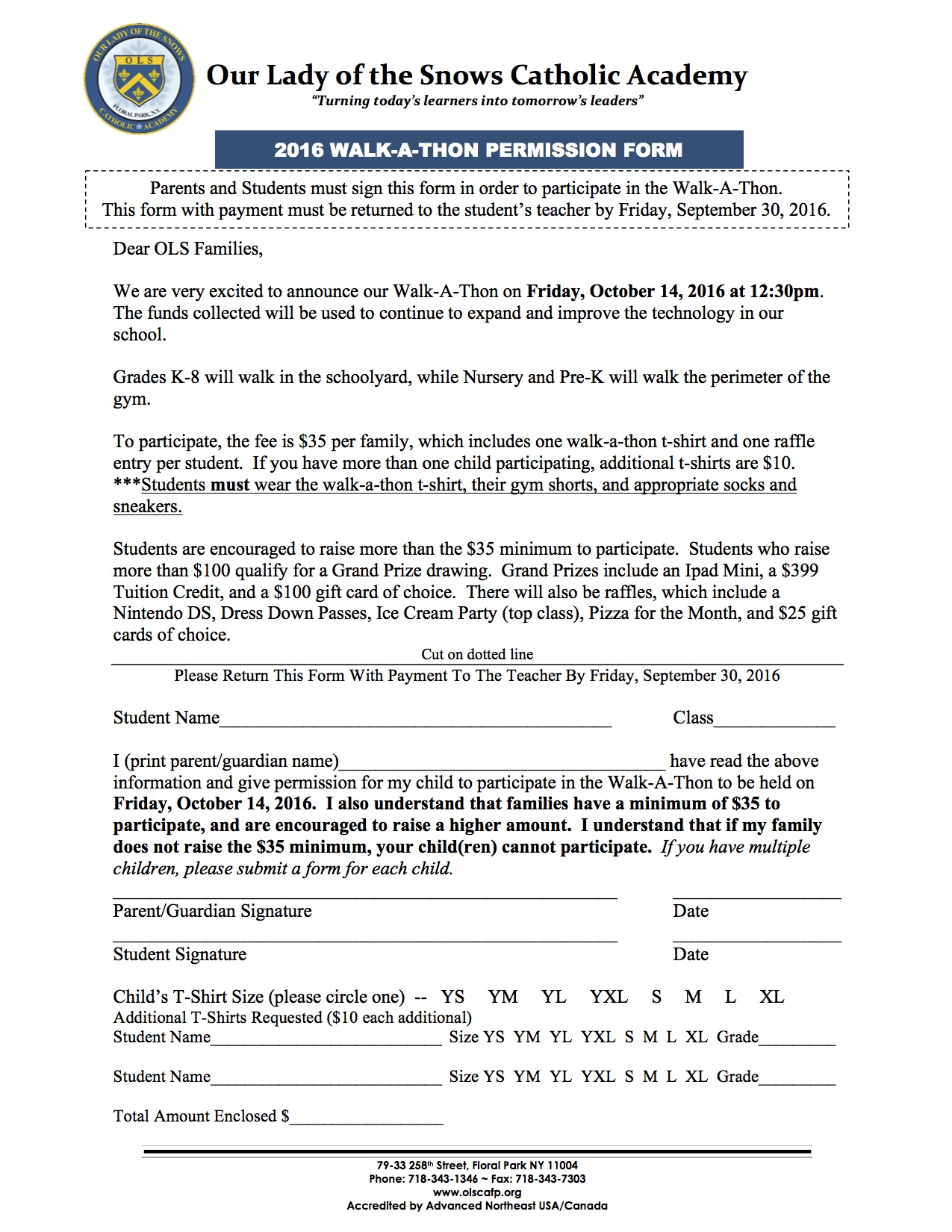 Walk-A-Thon Permission Form - Our Lady of the Snows Catholic Academy