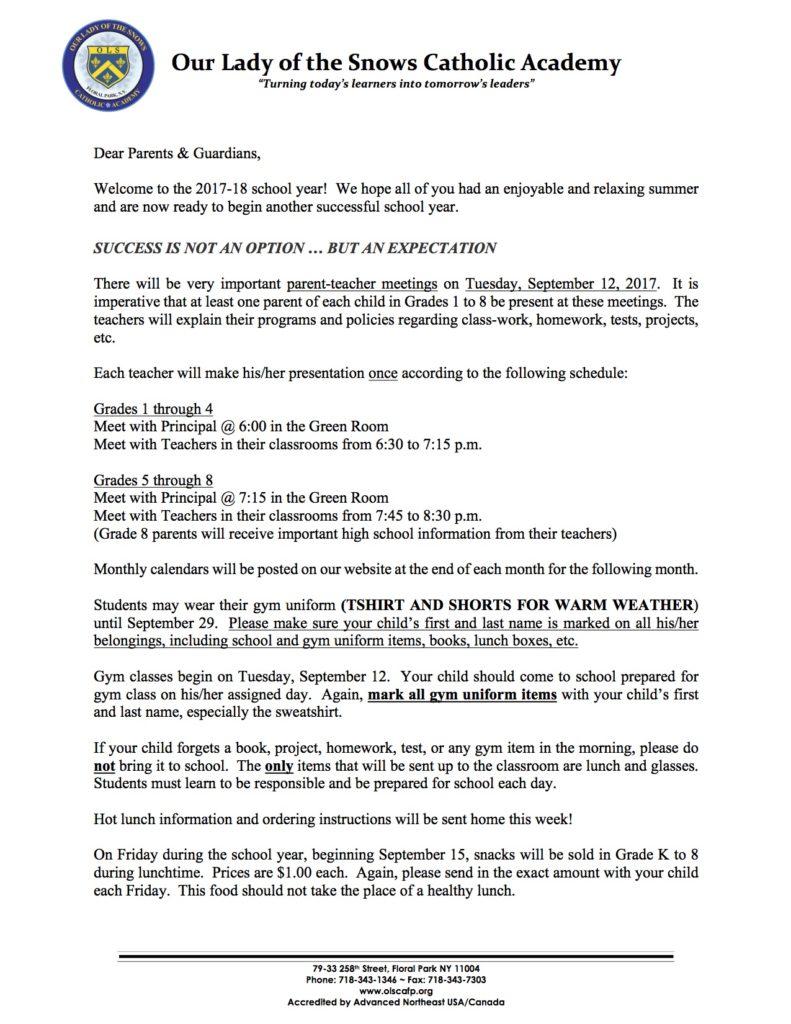 september welcome back letter