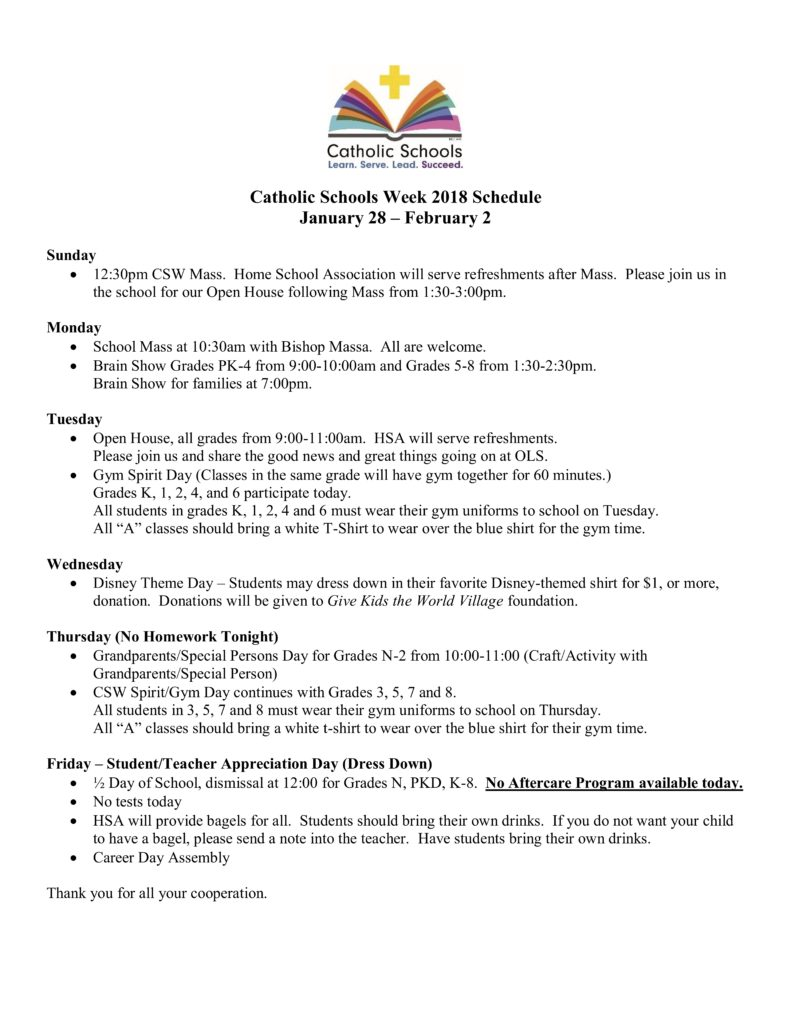 Catholic Schools Week Schedule - Our Lady of the Snows Catholic Academy