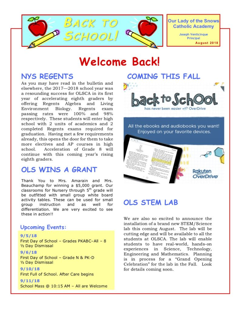 Back To School Newsletter Our Lady Of The Snows Catholic